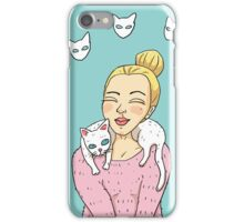 Blonde and white cat iPhone Case/Skin