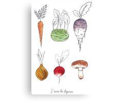 J'aime les légumes! I love vegetables! Canvas Print