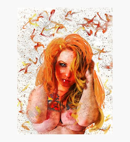 Ginger Woman With Tattoos (nude / risque) Photographic Print