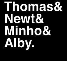 Thomas & Newt & Minho & Alby. (inverse) by Samantha Weldon