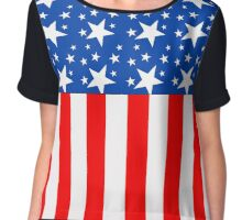 American Flag Stars and Stripes Chiffon Top