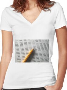 Statistical Data sheet and pencil selective focus Women's Fitted V-Neck T-Shirt
