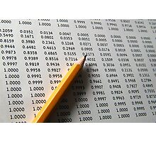Statistical Data sheet and pencil selective focus Photographic Print