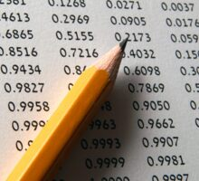 Statistical Data sheet and pencil selective focus Sticker