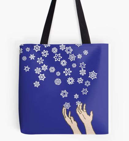 First Snow Night Snowflakes Tote Bag