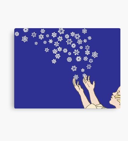 First Snow Night Snowflakes Canvas Print