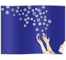 First Snow Night Snowflakes Poster