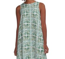 Green Old Wall Tiles A-Line Dress