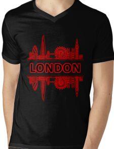 London City UK (Black Red) Mens V-Neck T-Shirt