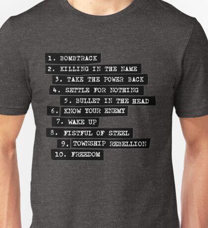 Rage Against The Machine Tracklist Unisex T-Shirt