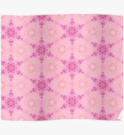 Pink Crystalline Watercolour Flowers Pattern Poster