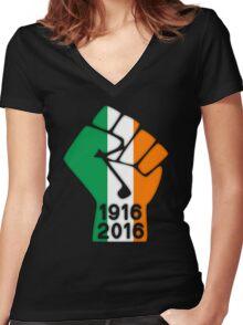 Ireland 1916 Power Fist Women's Fitted V-Neck T-Shirt