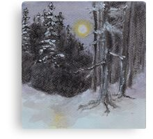 Moonlit Snowy Woods Canvas Print