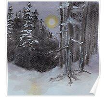 Moonlit Snowy Woods Poster