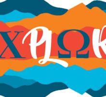 Explore Chi Omega in Vivid Sunset Sticker