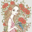 oh so flowery girl and kingfisher by genevievem