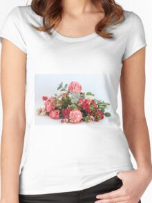 Silk rose flower bouquet on white background  Women's Fitted Scoop T-Shirt
