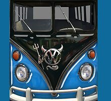 Blue Camper Van With Devil Emblem by Jason Subroto