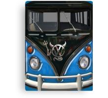 Blue Camper Van With Devil Emblem Canvas Print
