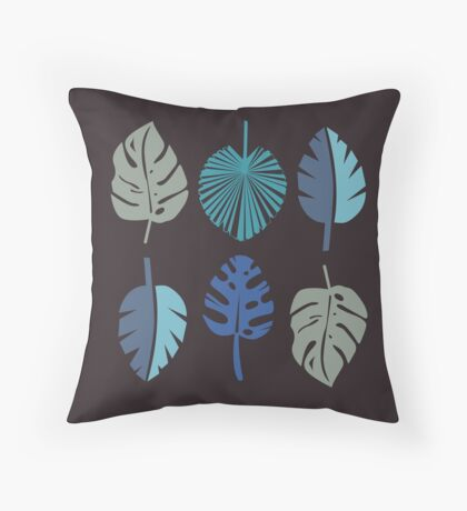 Blue Frond Throw Pillow
