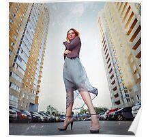 Urban portrait of attractive blonde woman Poster