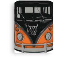 Orange Camper Van with Devil Emblem Art Canvas Print