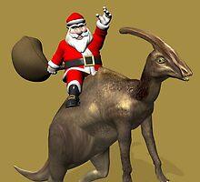 Santa Claus Riding A Parasaurolophus by Mythos57