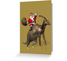 Santa Claus Riding A Parasaurolophus Greeting Card