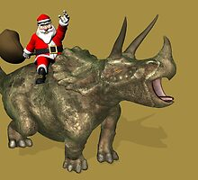 Santa Claus Riding A Triceratops by Mythos57