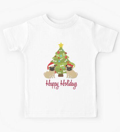 Happy Holidays Christmas Pugs and Tree Kids Tee