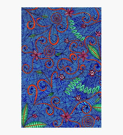 Let Nature Swirl Pattern, Flower And Leaf Doodle Photographic Print