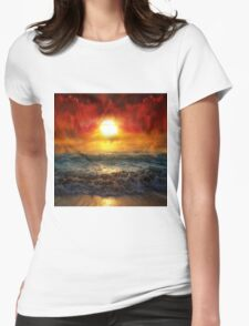 Beautiful Sunset at sea Womens Fitted T-Shirt
