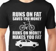 Cycling Runs On Fat Funny Bicycle Rider Unisex T-Shirt