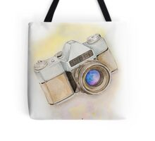 Watercolor old camera with a space in the lens Tote Bag