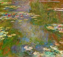 1918, Waterlily Pond, oil on canvas. Claude Monet. Vintage fine art  oil painting. by naturematters