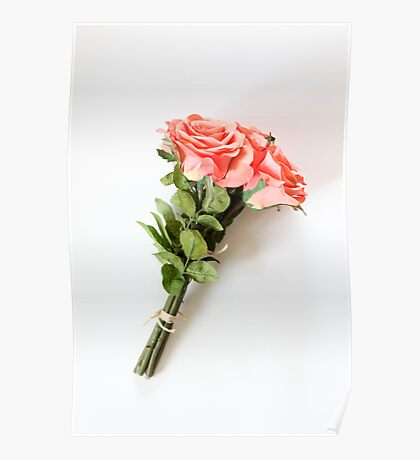 Silk Rose Bouquet on white background  Poster