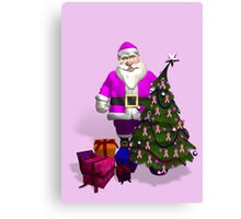 Santa Claus Dressed In Pink Canvas Print