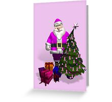 Santa Claus Dressed In Pink Greeting Card