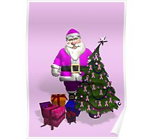Santa Claus Dressed In Pink Poster