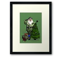 Santa Claus In Camouflage Dress Framed Print