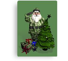 Santa Claus In Camouflage Dress Canvas Print