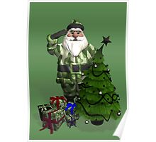 Santa Claus In Camouflage Dress Poster