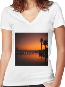 Calm sea sunset Women's Fitted V-Neck T-Shirt