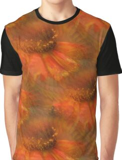 Abstract Orange Daisy Flower Pattern Graphic T-Shirt