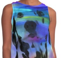 Dalmatian Dog Colorful Water Color Splash Art Portrait Contrast Tank