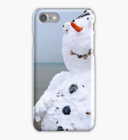 Snowman on the beach iPhone Case/Skin