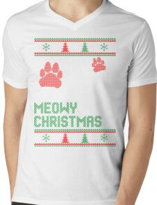 Meowy christmas cat ugly christmas sweater xmas T-Shirt