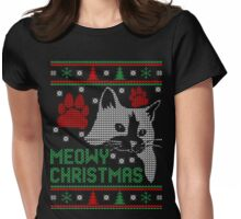Meowy christmas cat ugly christmas sweater xmas Womens Fitted T-Shirt