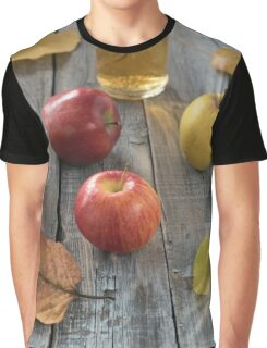 Apple cider in bottle  and fresh apples on nature background Graphic T-Shirt