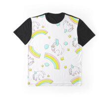 White fluffy unicorns dancing on rainbows Graphic T-Shirt